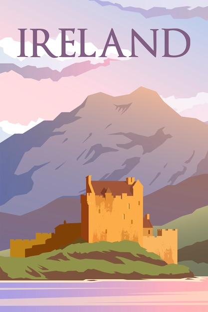 Retro-plakat. eine burg in irland. reiseplakat. design. Premium Vektoren
