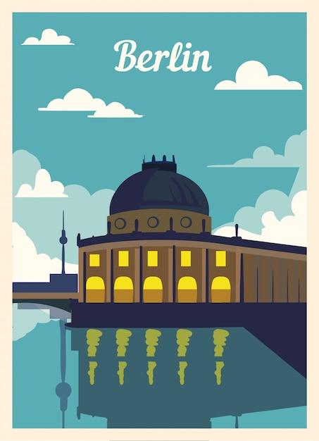 Retro poster berlin stadtskyline. Premium Vektoren