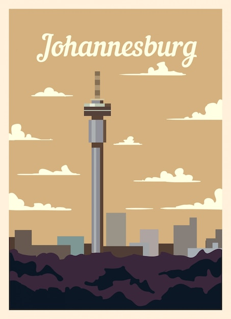 Retro poster johannesburg stadtskyline. Premium Vektoren