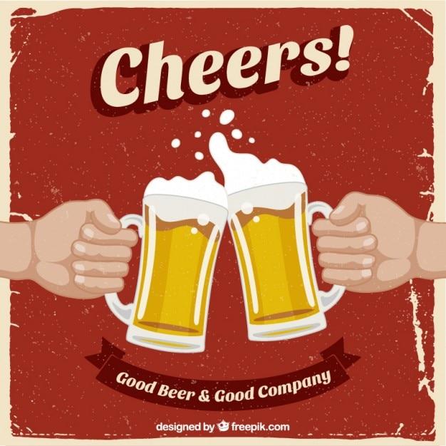 Retro poster mit bier Kostenlosen Vektoren