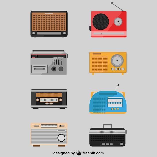 Retro-radio setzt zeichnungen Kostenlosen Vektoren