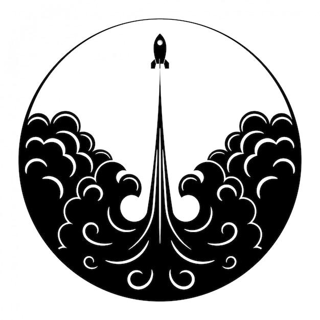 Retro rakete, flamme und rauch. schwarzweiss-zeichnung des weinleseraumtransportes in einem kreis. Premium Vektoren