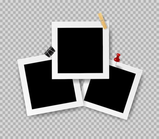 Retro realistische bilderrahmen mit büroklammer Premium Vektoren