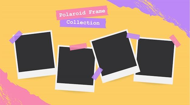 Retro realistischer leerer sofortiger polaroidfotosatz Premium Vektoren