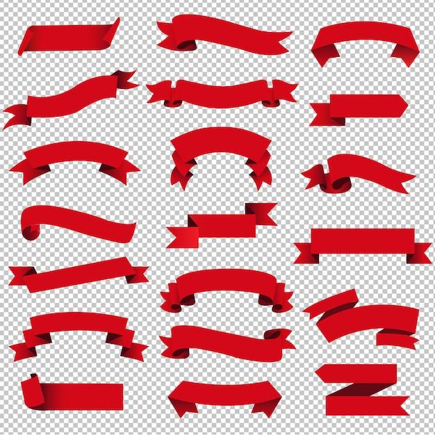 Retro red web ribbon set isoliert transparent Premium Vektoren