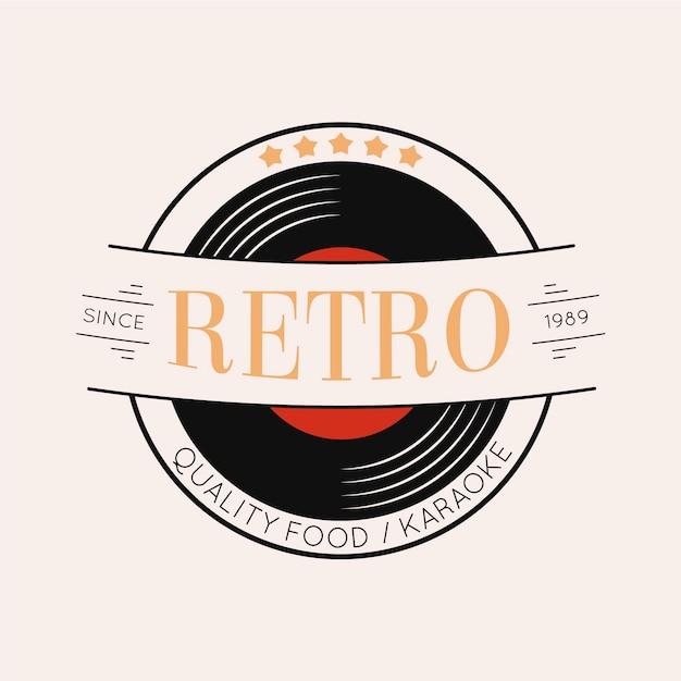 Retro restaurant logo design mit vinyl Kostenlosen Vektoren