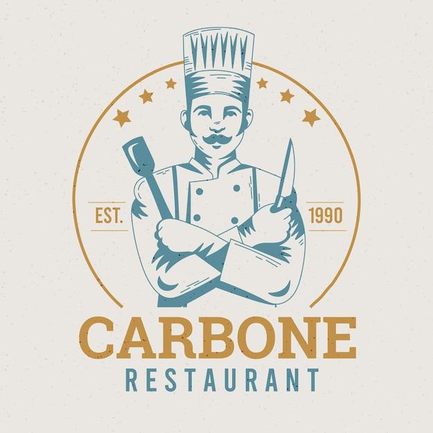 Retro restaurant logo vorlage Kostenlosen Vektoren