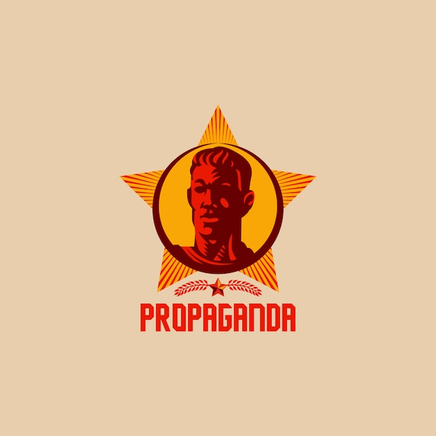 Retro revolution logo design der propaganda Premium Vektoren