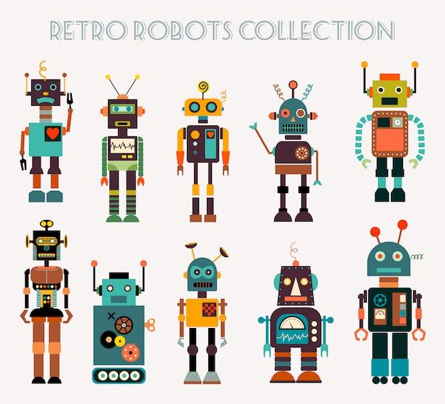 Retro robotersammlung mit verschiedenen charakteren Premium Vektoren