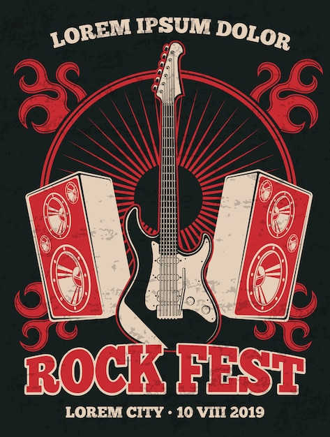 Retro rockmusik-bandplakat mit gitarre. rockmusikfestival-schmutzillustrationsfahne im roten schwarzen Premium Vektoren