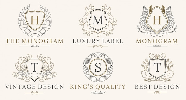 Retro royal vintage shields logo-set Premium Vektoren