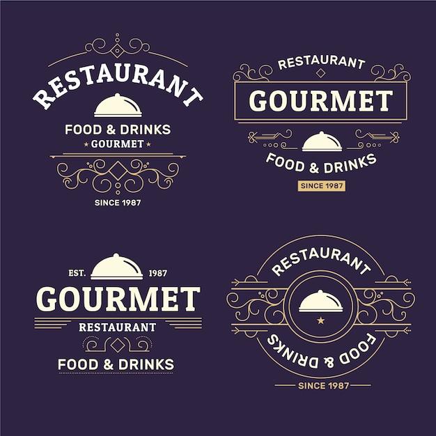 Retro sammlung von restaurant logos Kostenlosen Vektoren