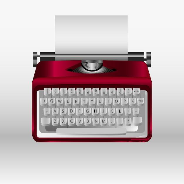 Retro schreibmaschine mit weißbuchblatt. 3d-modell Premium Vektoren