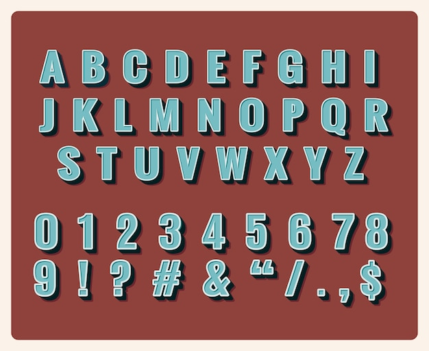 Retro-schriftart. symbol vintage, typografie, zahlen und buchstaben Kostenlosen Vektoren