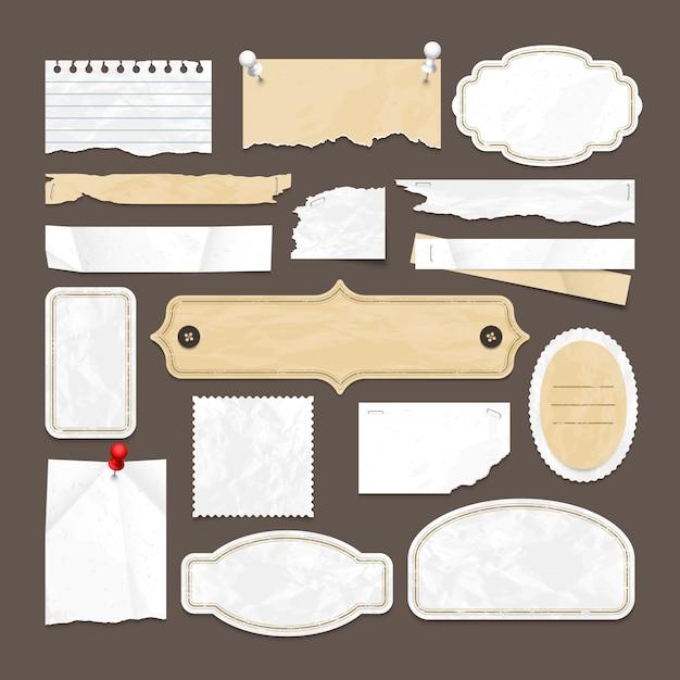 Retro- scrapbookingvektorsammlung mit altem papier, ausweisen und bilderrahmen. illustration des abstrakten retro- leeren aufkleberpapierelements Premium Vektoren