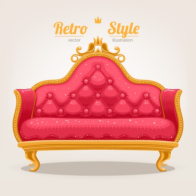 Retro sofa Premium Vektoren