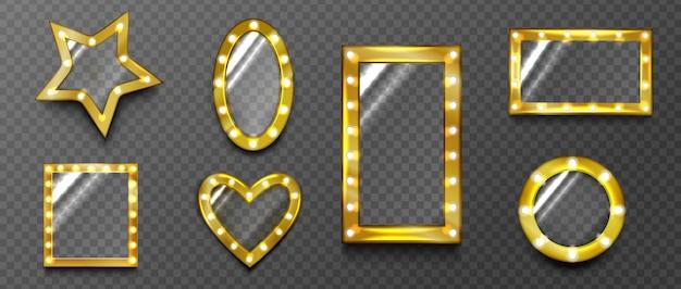 Retro spiegel, glas mit goldenen lampenrahmen, hollywood vintage werbetafeln grenzen Kostenlosen Vektoren