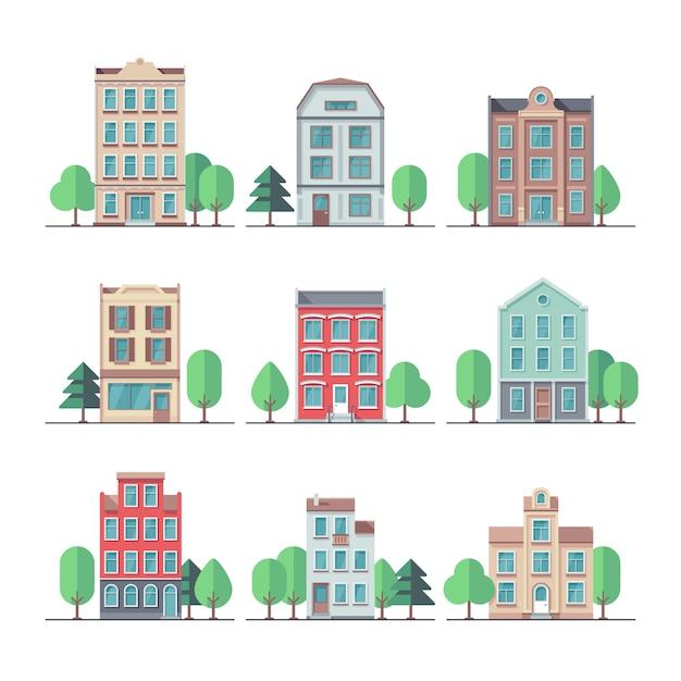 Retro stadthäuser. vintage wohngebäude vektorsatz. gebäudehaus und haus, stadtwohnungsstraßenillustration Premium Vektoren