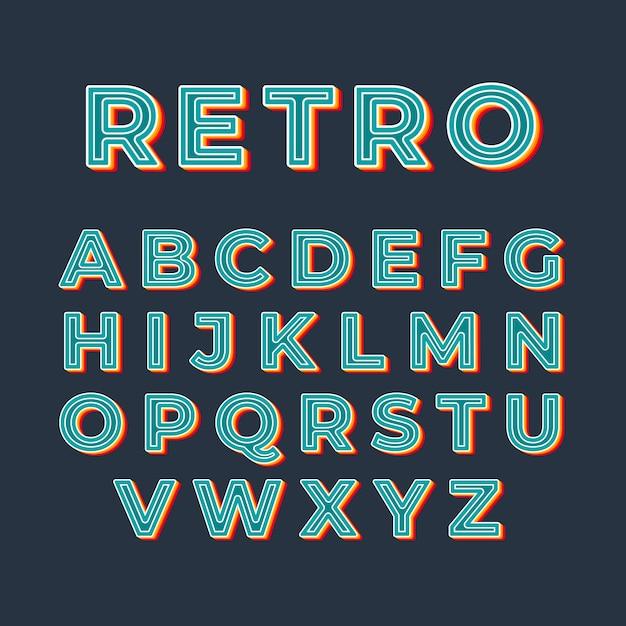 Retro-stil des alphabets 3d Premium Vektoren