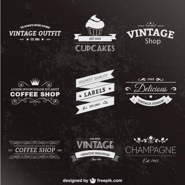 Retro-stil-etiketten-pack Kostenlosen Vektoren