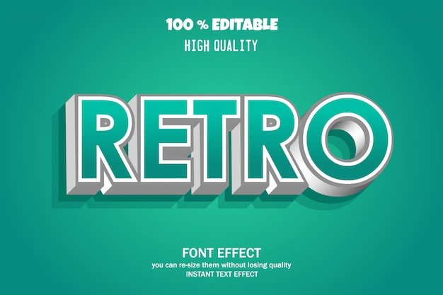 Retro text, bearbeitbarer gusseffekt Premium Vektoren