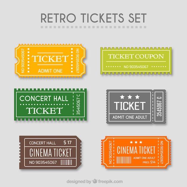 Retro tickets eingestellt Kostenlosen Vektoren