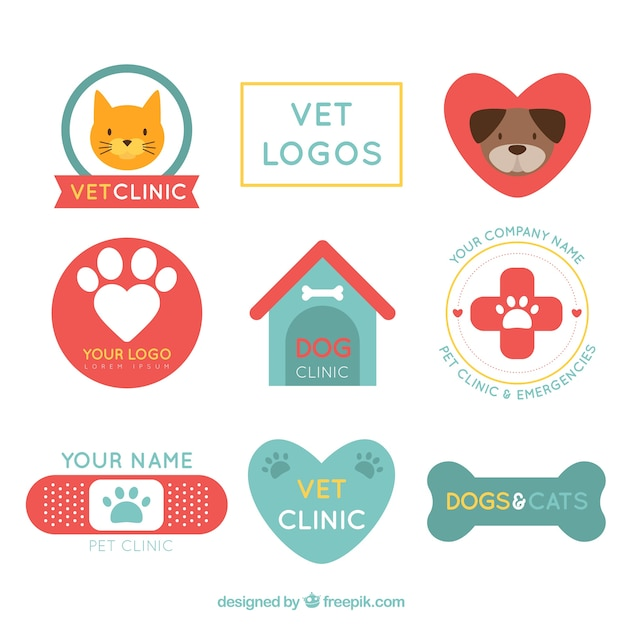 Retro-Tierklinik Logos Kostenlose Vektoren