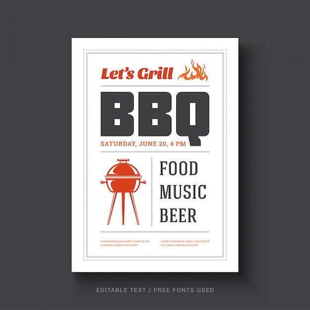 Retro- typografie des grillpartei-vektorfliegers oder des plakatdesignschablonenereignisses. Premium Vektoren