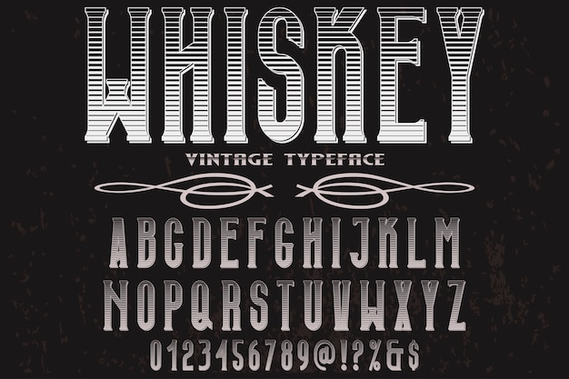 Retro typografie label design whisky Premium Vektoren
