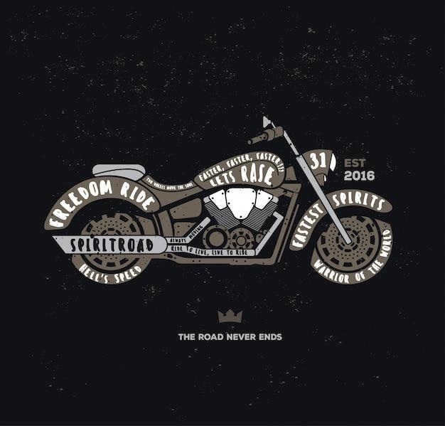 Retro-typografie-motorrad-logo Premium Vektoren