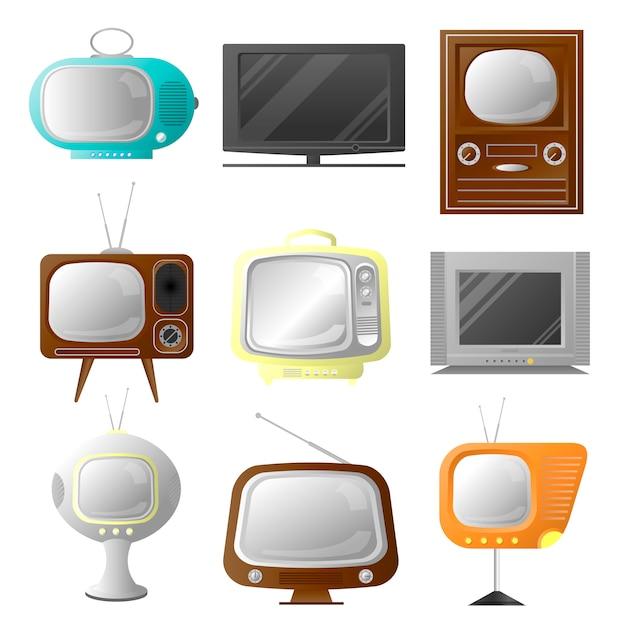 Retro- und moderner stilvoller fernseher des vektors. sammlung von vintage bildschirmen. Premium Vektoren