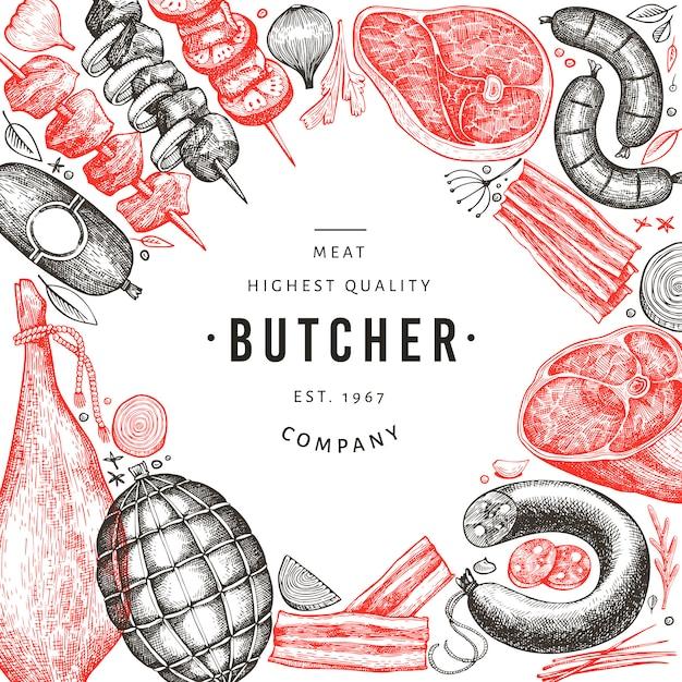 Retro vektor fleischprodukte design. hand gezeichneter schinken, würste, gewürze und kräuter. Premium Vektoren