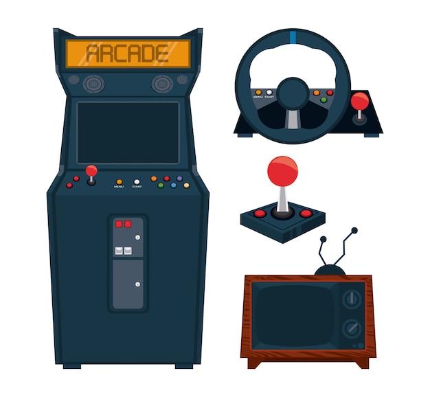 Retro videospiel-arcade-ausrüstungssammlungssatz Premium Vektoren