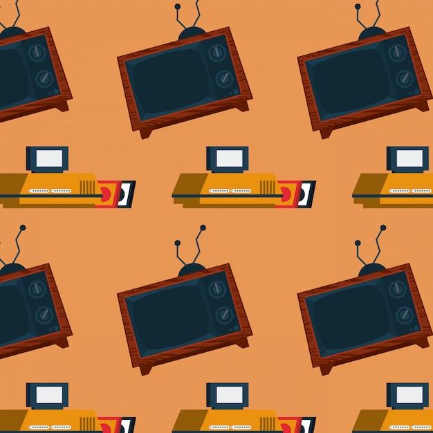 Retro- videospiel-säulengangfernsehmosaikhintergrund Premium Vektoren