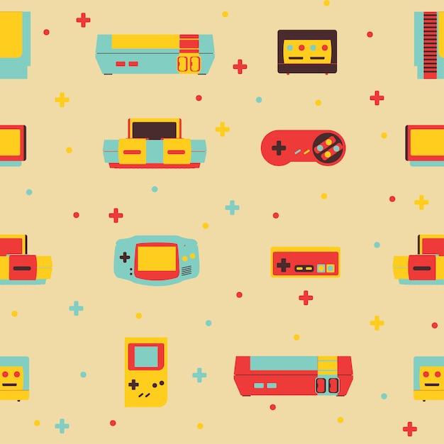 Retro videospielkonsolen-hintergrund-nahtloses muster Premium Vektoren