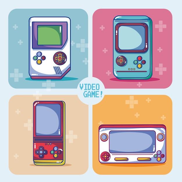 Retro videospielkonsolen vector illustrationsgrafikdesign Premium Vektoren
