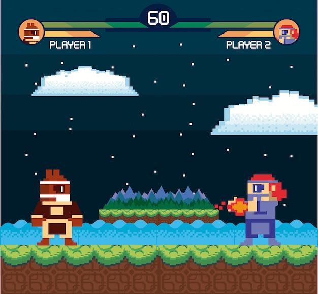 Retro- videospielschirm-säulenganghintergrundkarte Premium Vektoren