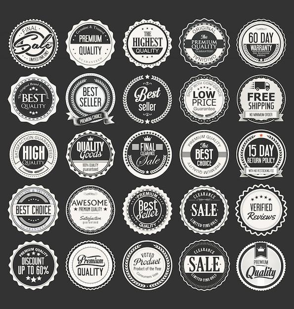 Retro vintage abzeichen und etiketten-vektor-sammlung Premium Vektoren