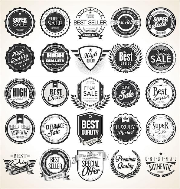 Retro vintage abzeichen und etiketten Premium Vektoren