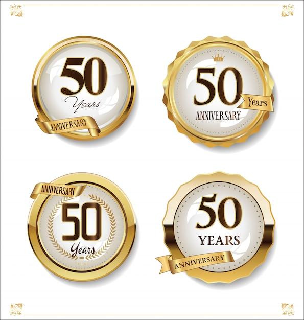 Retro vintage designkollektion der goldenen etiketten des jahrestages Premium Vektoren