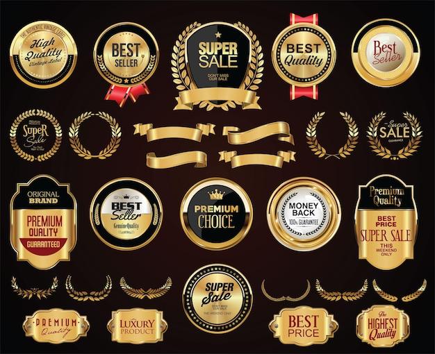 Retro vintage goldene abzeichen beschriftet bänder und schilde Premium Vektoren