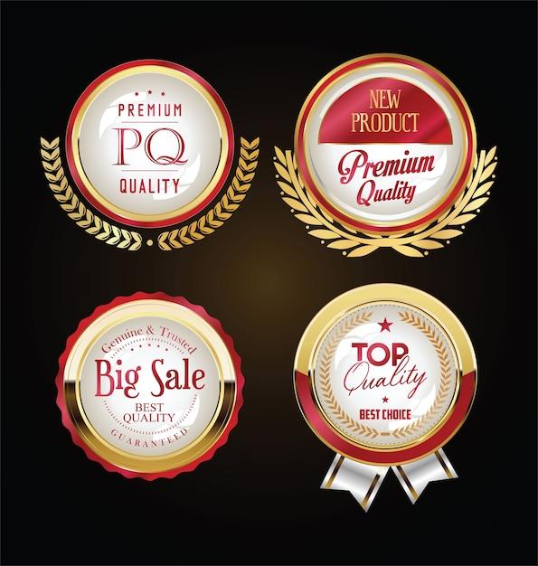 Retro vintage goldene abzeichen etiketten und bänder Premium Vektoren