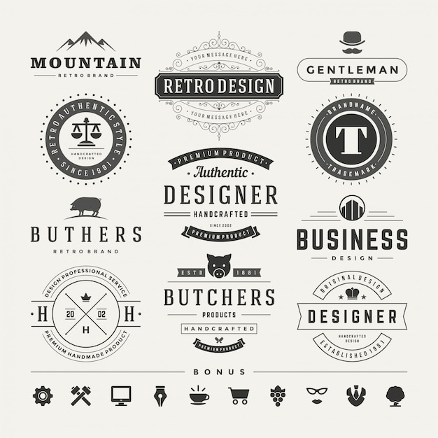 Retro vintage insignias oder logos vektor gestaltungselemente gesetzt Premium Vektoren