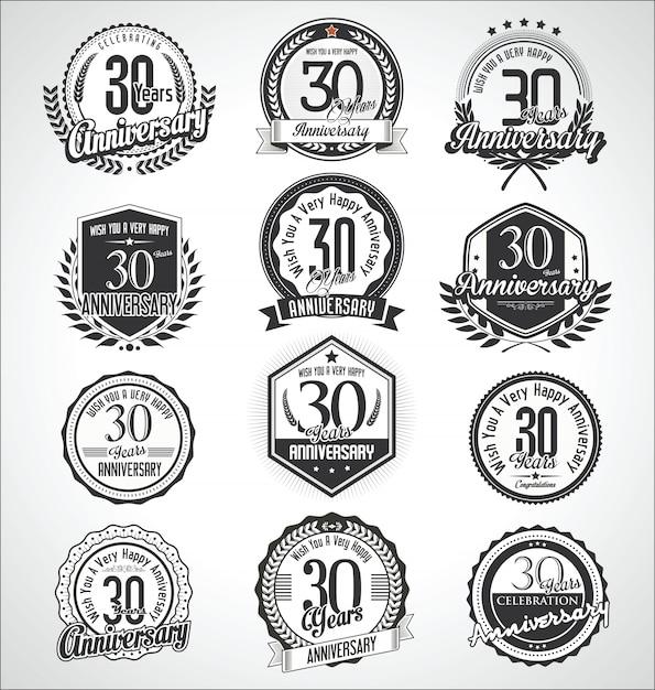 Retro vintage jubiläum abzeichen und etiketten sammlung Premium Vektoren