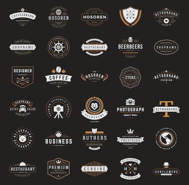 Retro vintage logos oder insignien festgelegt Premium Vektoren