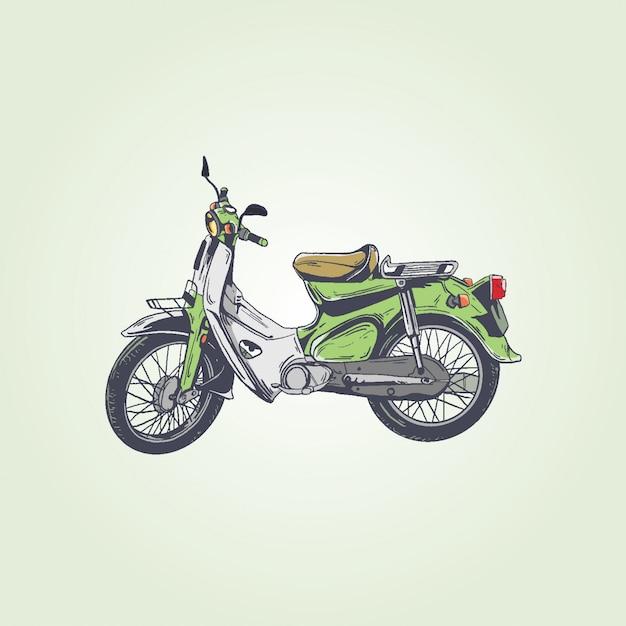 Retro vintage-motorrad Premium Vektoren