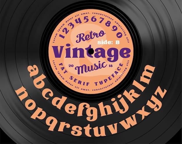 Retro vintage serife fett schrift. alphabetbuchstaben auf dem hintergrund der schallplatte. Premium Vektoren