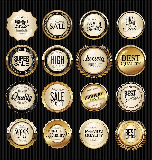 Retro vintage silber und gold abzeichen und etiketten sammlung Premium Vektoren