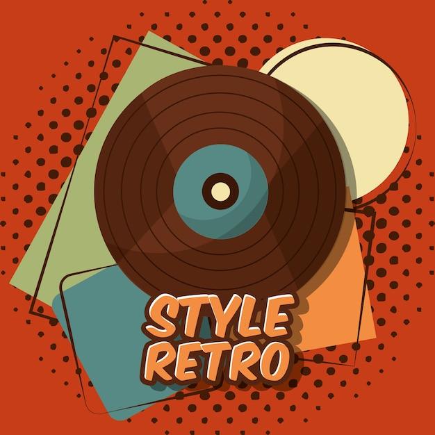 Retro vintage vinyl lp aufnahme musik halbton hintergrund Premium Vektoren