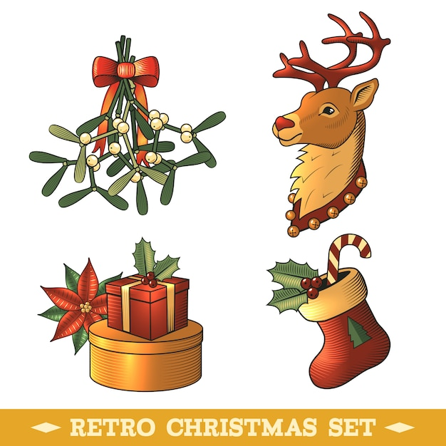 Retro weihnachten dekorative elemente festgelegt Kostenlosen Vektoren